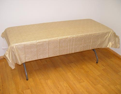 Gold Floral plastic table cover - 1