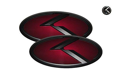3D K Logo Emblem Red & Black Edition Set 3pc Front + Rear + Mini Sticker (Fit: KIA 2014-2016 Forte Koup , K3 Koup , Cerato Koup) (Kia Forte Emblem Red compare prices)