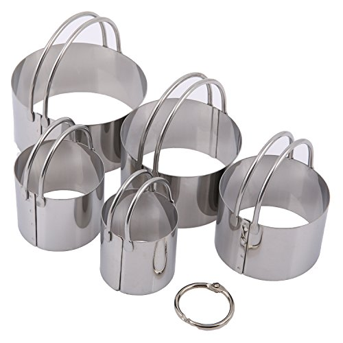 Ebake 5 Pieces Reusable Stainless Steel Biscuit Cutter Set (Round)