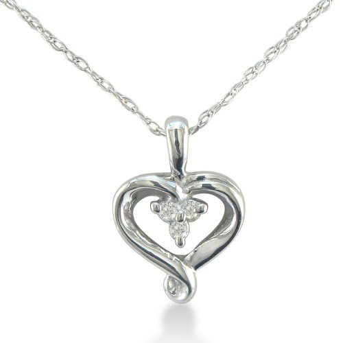 Three-Stone Diamond Heart Pendant in Sterling