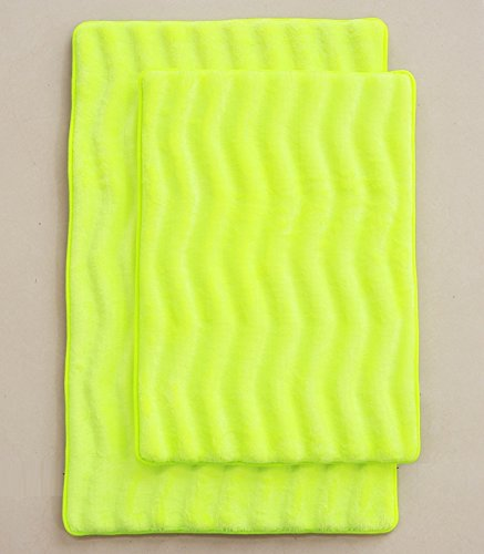 2 Piece High Quality Super Soft Microfiber Memory Foam Wavy Bath Rug Large 20