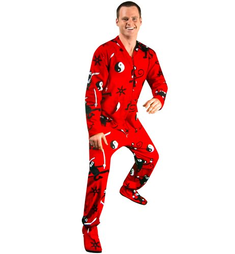 PajamaCity Cotton Flannel Ninja Monkey Print Drop Seat One Piece Footie Pajamas for Teens & Adults Size 6 (5'8