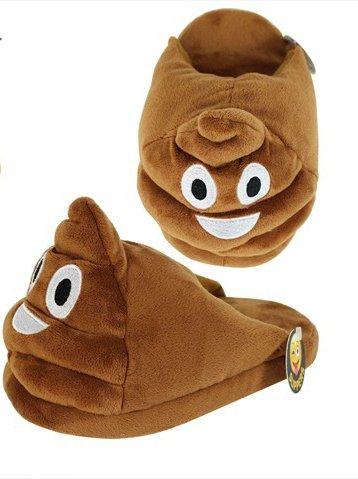Pantofole Emoji bambini piccoli personaggi donna, antiscivolo, colore: giallo caldo in poliestere, colore: marrone marrone
