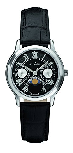 GROVANA 3025.1537 unisex quartz Watch with black Dial analogue Display and black leather Strap 3025.1537
