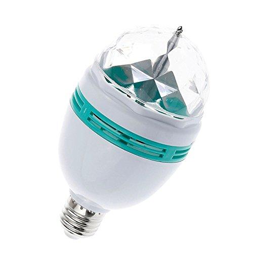 Lemonbest® RGB 3W E27 Mini Crystal Disco Ball Light, Auto Rotating LED DJ Stage Lamp for Party Bar Club