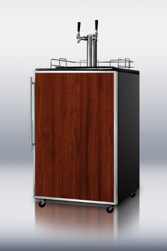 Summit Sbc490Bi7Frtwin: Commercially Approved Built-In Beer Dispenser In Black With Twin Taps And Stainless Steel Door Frame For Custom Panels front-990135