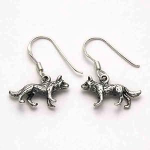 Sterling Silver Wolf Earrings | Amazon.com