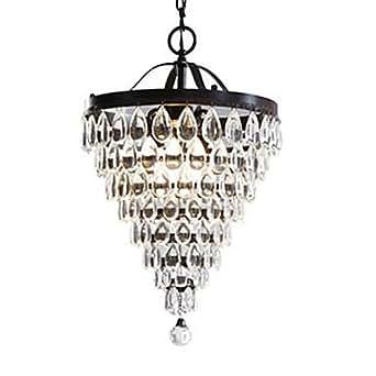 3 luce antico lampadario di cristallo bronzo for Lampadario amazon