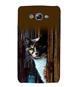 printtech Cat Green Eye Look Wood Back Case Cover for Samsung Galaxy J2 / Samsung Galaxy J2 J200F
