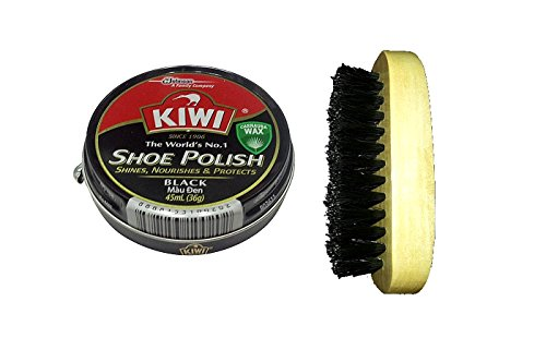 KIWI SHOE CARE SHINES NOURISHES PROTECTS SHOE BOOT WAX TINS 45ml - Black with BRUSH (Phosphorescent Shoes compare prices)