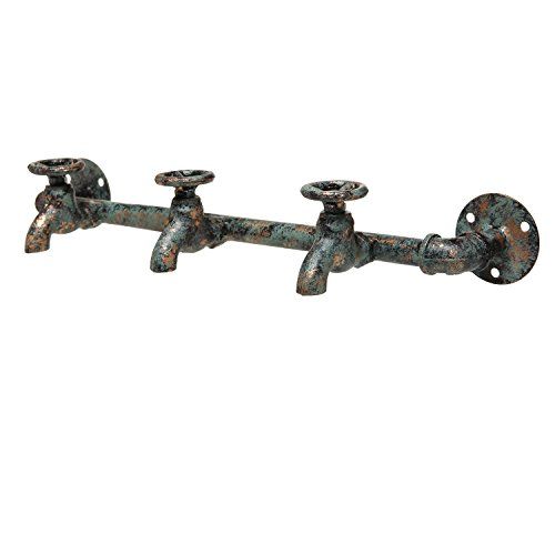 Rustic Industrial Faucet & Pipe Wall Mounted Iron Coat Hooks Garment Hanger / Towel Rack Bar - Turquoise