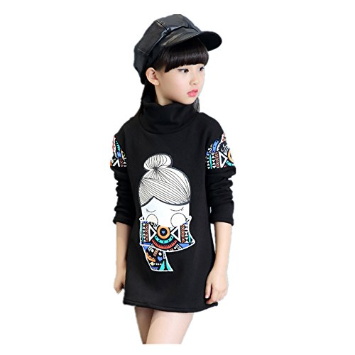 ftsucq-girls-printed-fleeced-long-sleeve-thermal-under-shirt-black-150
