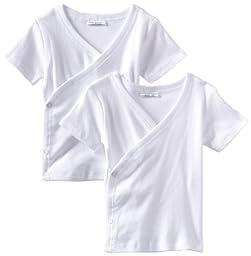 Spasilk Kid\'s Side Snap Tee 2-Pack, White, 6 Months