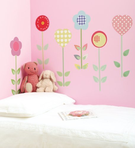 FunToSee Polly Patch Flowers Girls Nursery and Bedroom Wall Decals, Flowers