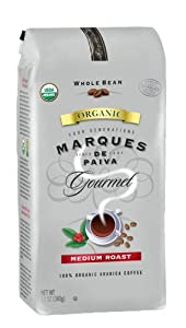 Marques De Paiva Medium Roast 100% USDA Organic Whole Bean Coffee, 12-Ounce Bags (Pack of 4)