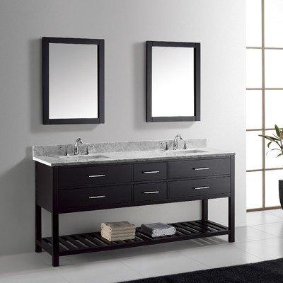 Virtu Usa Md-2272-Wmsq-Es Transitional 72-Inch Double Sink Bathroom Vanity Set, Espresso