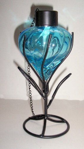 """""""Abc Products"""" -{Final Close-Out} ~ Tabletop Tiki Torch - Sits In Wire Shaped Holders With Leaves - Antique Style (All New Design - Clear Blue Glass Oil Container - Matte Black Finish Wire Holder)"""