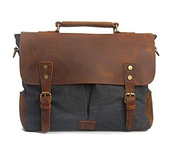 DesertWolf Cotton Canvas Genuine Crazy-horse Leather Cross Body Laptop Messenger Bag - Men Business Vintage Handbag / Briefcase - Fit 15 Inch Laptop