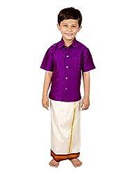Thangamagan Boy's Shirt/Dhoty Regular Fit (Purple,Age : 7 to 8 Years)