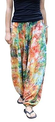 Clor Womens Colorful Linen Fitness Beach Yoga Herem Pants