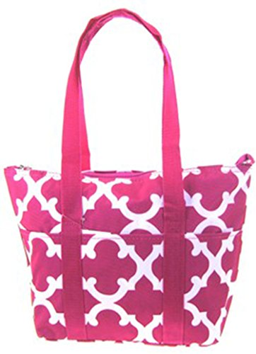 Quatrefoil Lattice Trellis Moroccan Print Thermal Lunch Bag Box Fuchsia - 1