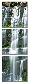 Rockside Waterfall . Vertical Contemporary Art, Modern Wall Decor, 3 Panel Wood Mounted Giclee…