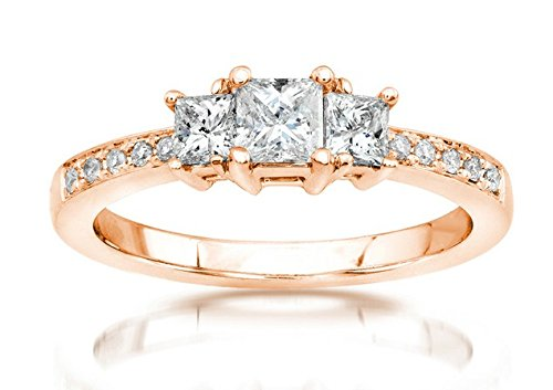 0.58 Carat Three Stone Cheap Engagement Ring with Princess cut Diamond on 18K Rose gold
