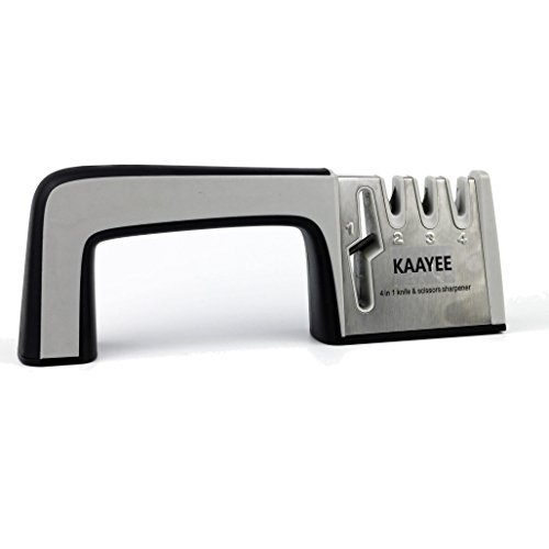 KAAYEE Kitchen Knife Sharpener with Scissor Sharpener Integrated 4 in 1 Knife Sharpening System for Kitchen, Sports and Tactical Knives. (Skate Sharpening Machine compare prices)