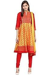 Trishaa by Pantaloons Women's Anarkali Churidar Kurta Dupatta ( 205000005644887, Yellow, X-Large)