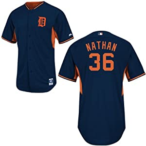 Joe Nathan Detroit Tigers Road Batting Practice Jersey by Majestic by Majestic