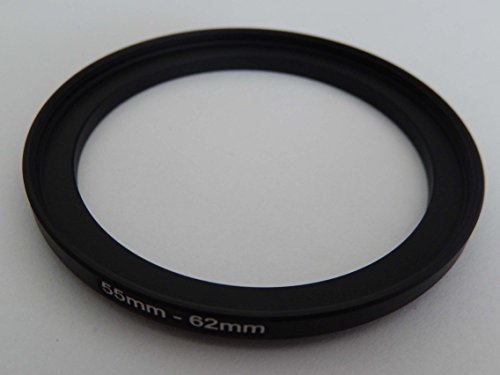 vhbw Step UP Filter-Adapter 55mm-62mm schwarz für Kamera Panasonic, Pentax, Ricoh, Samsung, Sigma, Sony, Tamron