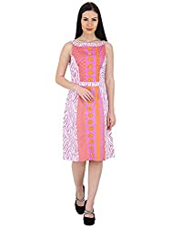 Woodin Boat Neck Graphic Print Knee Length Dress for Women