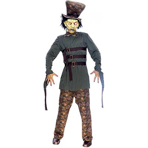 [GSG Wicked Wonderland Mad Hatter Costume Adult Scary Horror Halloween Dress] (Plus Size Dark Mad Hatter Costume)
