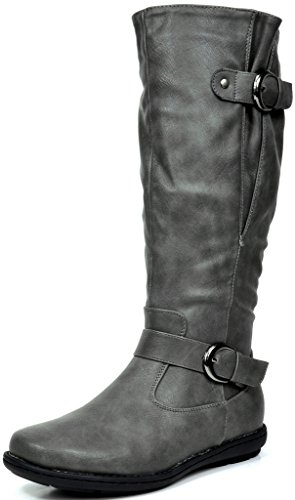 DREAM-PAIRS-SUMMITTRACE-Fashion-Dual-Buckles-Faux-Fur-Lined-Knee-Hight-Winter-Boots-Wide-Calf-Available