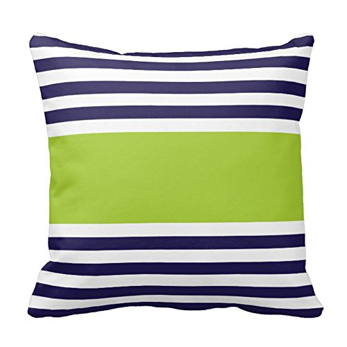 Navy Blue and White With Green Stripe Design Sofa Home Decor Pillow Case Covers