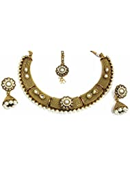 Shingar Jewellery Ksvk Jewels Antique Gold Plated Polki Kundan Look Necklace Set For Women - B00QFEKV4A