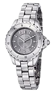 Stuhrling Original Women's Leisure Ceramic Austere Quartz Swarovski Crystal Date Silver Tone Watch 957S.12112