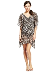 M&S Collection Leopard Print Beaded Cover-Up Kaftan