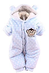 Baby Toddler Cotton Long Sleeve Jumpsuit Front Button (Blue,6-9 Months)