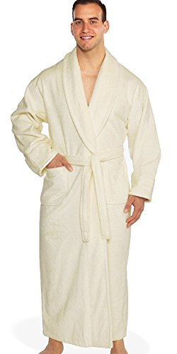 Turkishtowels Mens and Womens Original Terry Shawl Turkish Bathrobe, 100% Combed Pure Turkish Cotton Terry Robe (OSFM, Ivory)