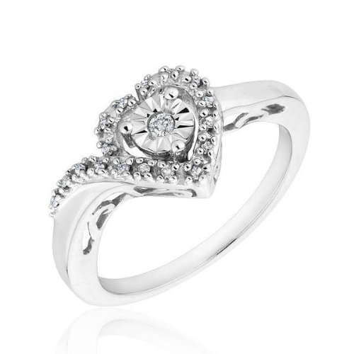 Diamond Heart Promise Ring 1/10ctw - Size 6.5