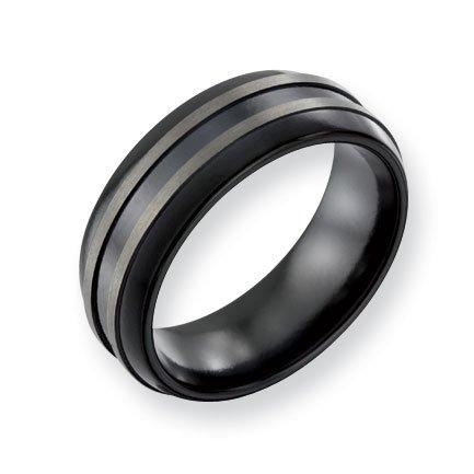 Titanium Black 8mm Band Ring - Size 12 - JewelryWeb