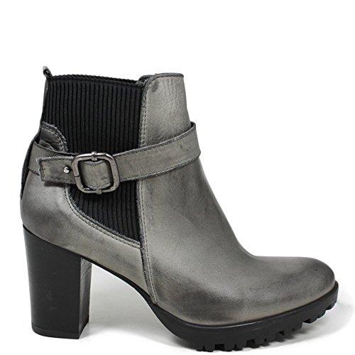 Tronchetti Stivaletti Chelsea Ankle Boots Donna In Time 0166 Grigio in Vera Pelle Made in Italy