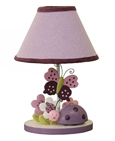Lambs & Ivy Luv Bugs Lamp with Shade and Bulb, Purple