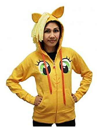 My Little Pony Applejack Face Juniors Orange Costume Hoodie with Mane (Juniors Large)