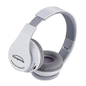 kinganda 密閉型Bluetoothヘッドフォン 3.5mmオーディオ有線ヘッドセット (ホワイト)