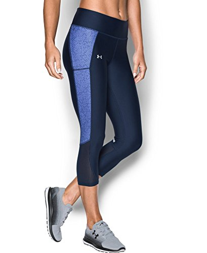 Under Armour Women's Fly-By Printed Capri, Midnight Navy (412), Large
