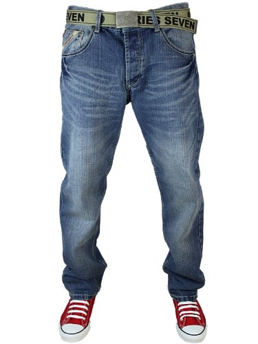 New Mens Stonewash Loyalty & Faith Twisted Fit & Straight Leg Jeans Size W32 L34