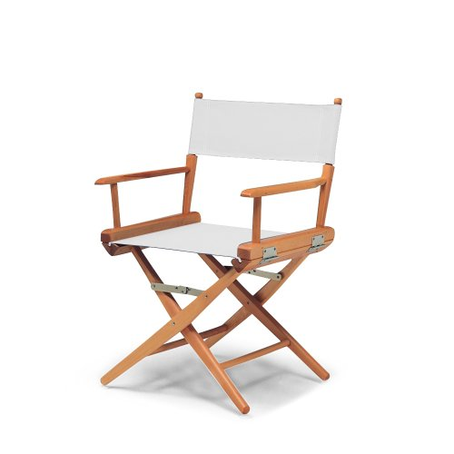 Telescope Casual World Famous Dining Height Director Chair,White with Varnish Frame