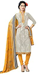 Look N Buy women's Latest Grey and Yellow Coloured Embroidered Unstitched Glace Cotton Dress Material With Dupatta